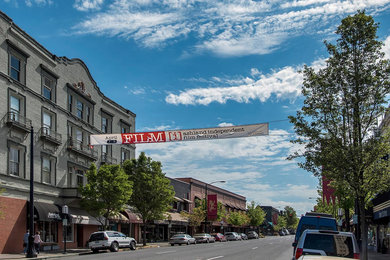 Ashland Independent Film Festival banner hanging in downtown Ashland, OR