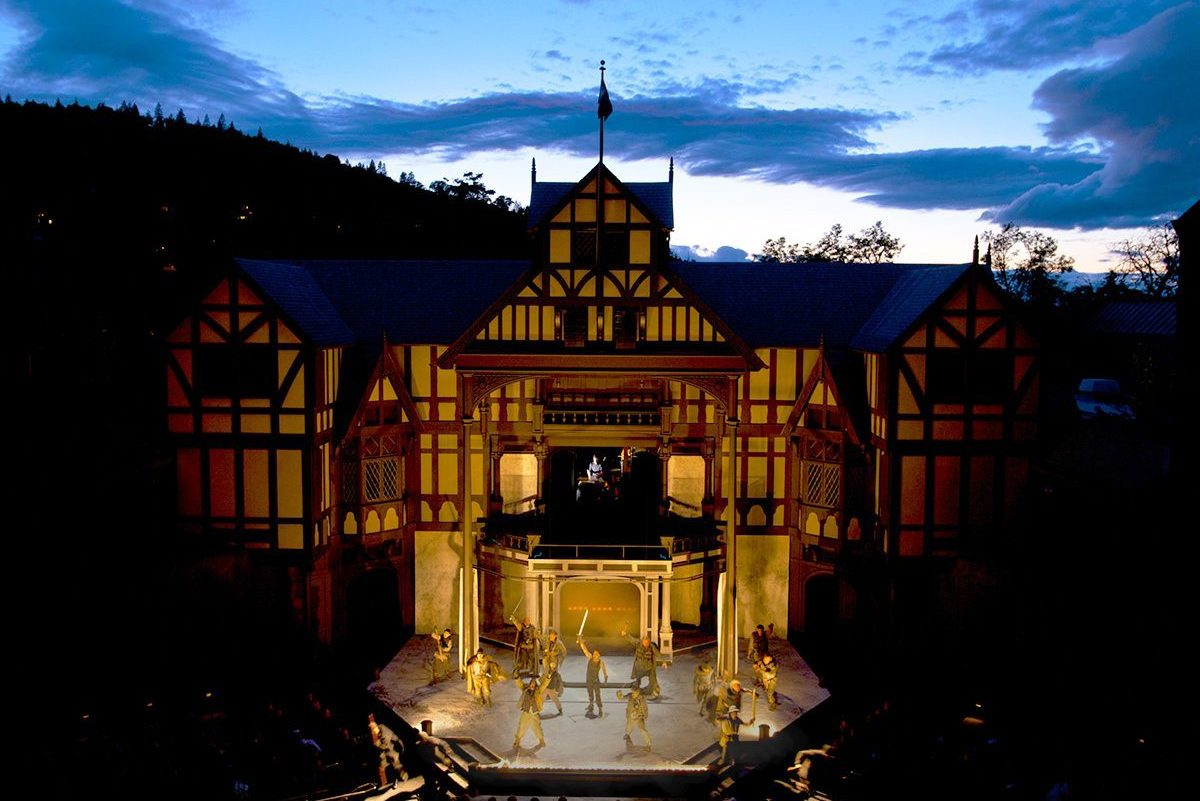 Oregon Shakespeare Festival Elizabethan Theatre performance at night