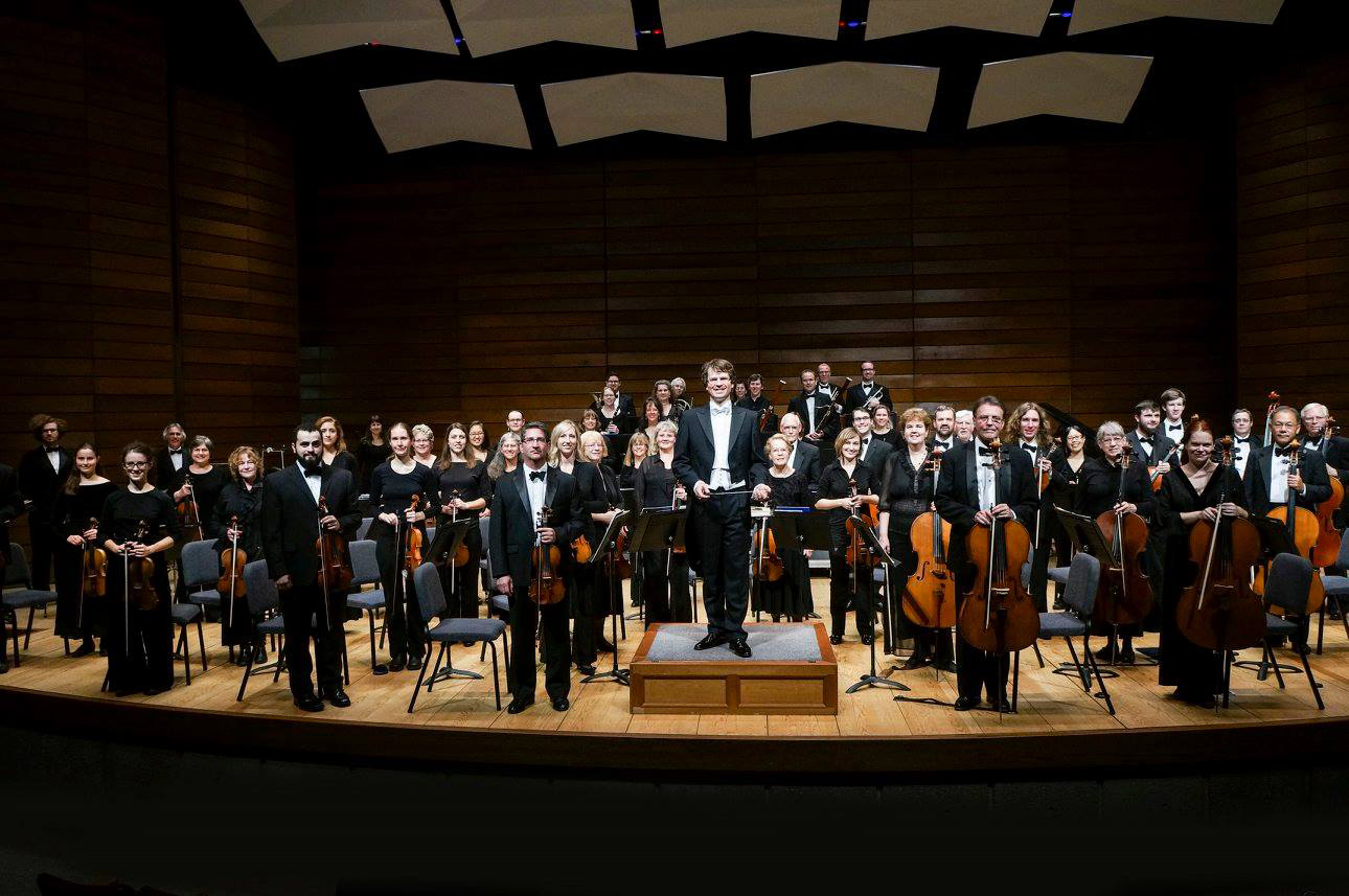 The Rogue Valley Symphony with their conductor