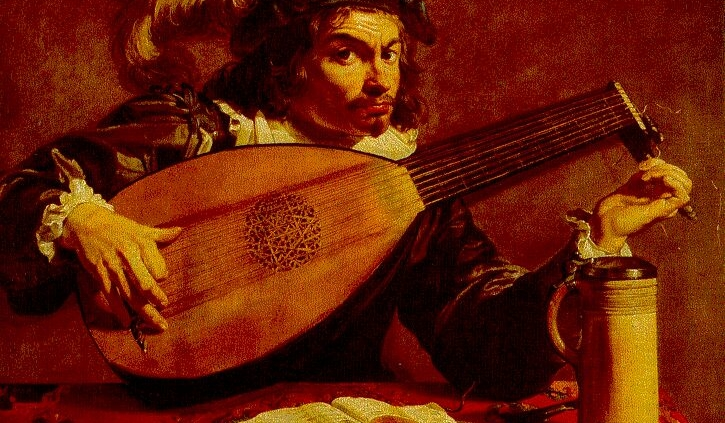Oil Painting of Man Playing Lute
