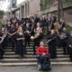 SOU Wind Ensemble in front of Music Building